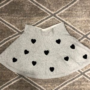 H&M grey skirt with black hearts